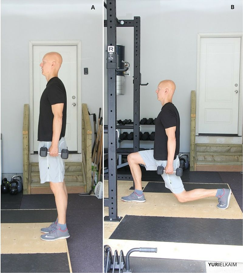 Walking Dumbbell Lunges (Side View)