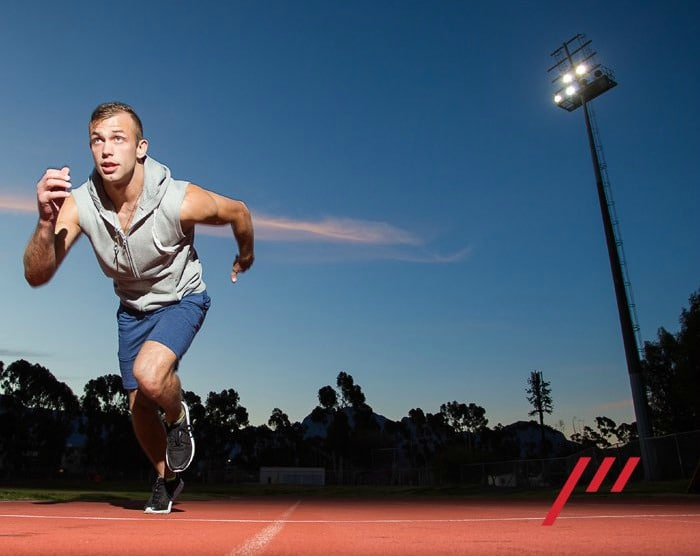Man performing interval sprints