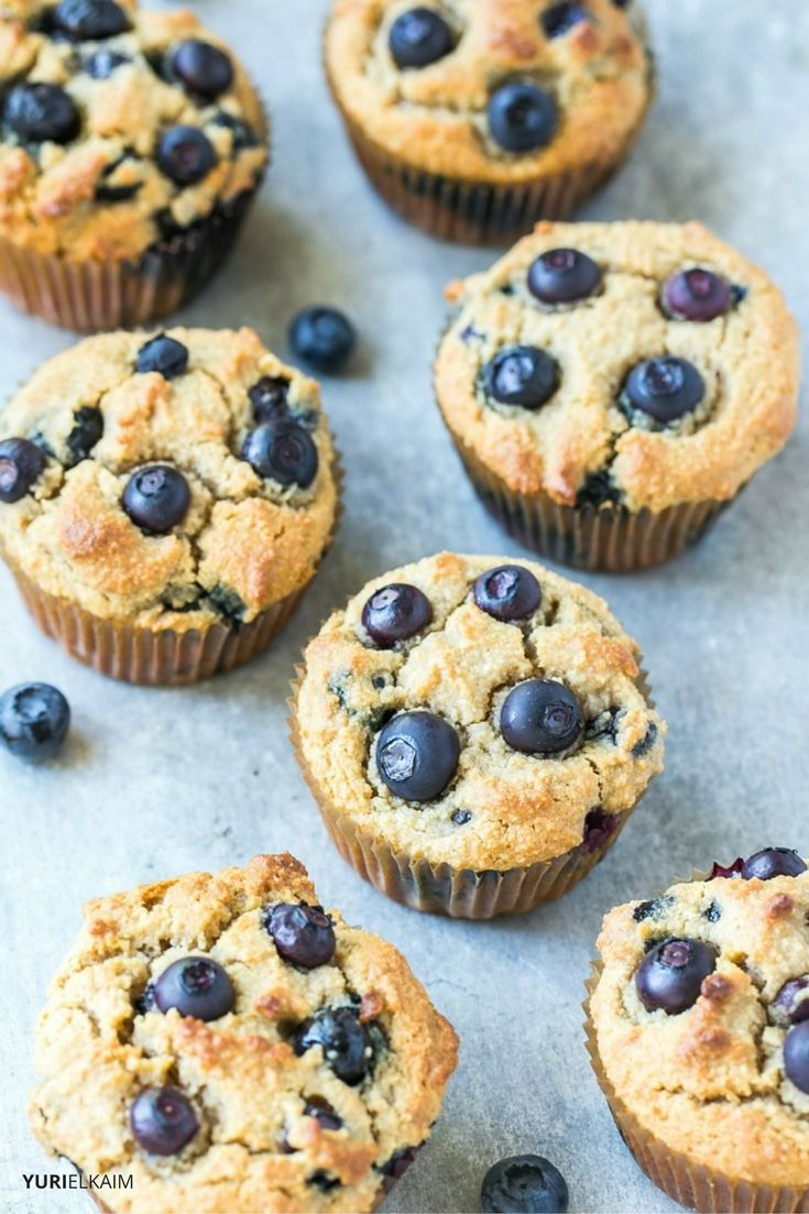 High Protein Paleo Blueberry Muffins
