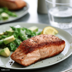 Pan-Seared Salmon with Sugar Snap Peas and Avocado Salad
