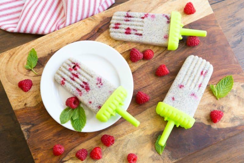 Raspberry Chia Smoothie Popsicles