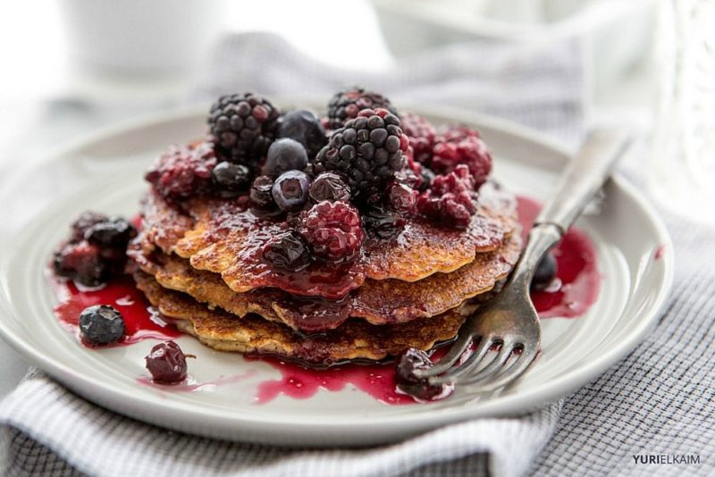 3-Ingredient Protein Powder Pancakes - Yuri Elkaim