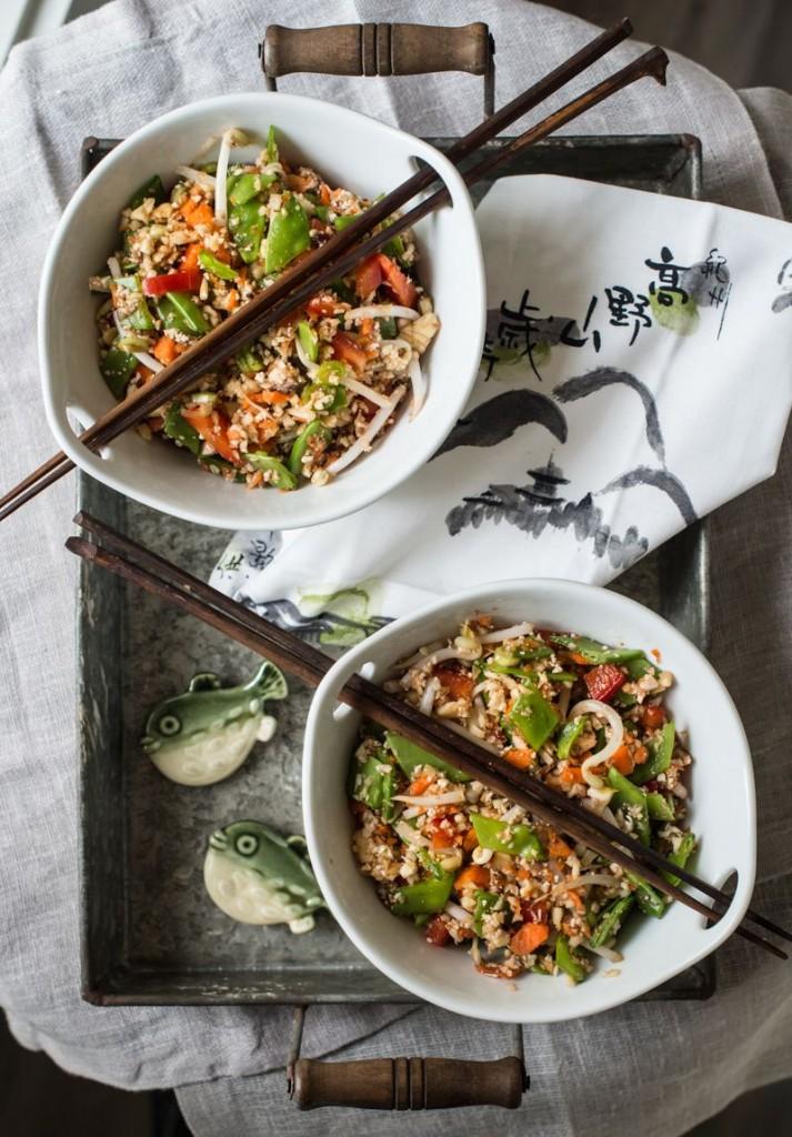 With Vegan Diet Athletes Improve Health And Thrive-Raw Veggie Rice With Tamari Orange Sauce - Rawmazing