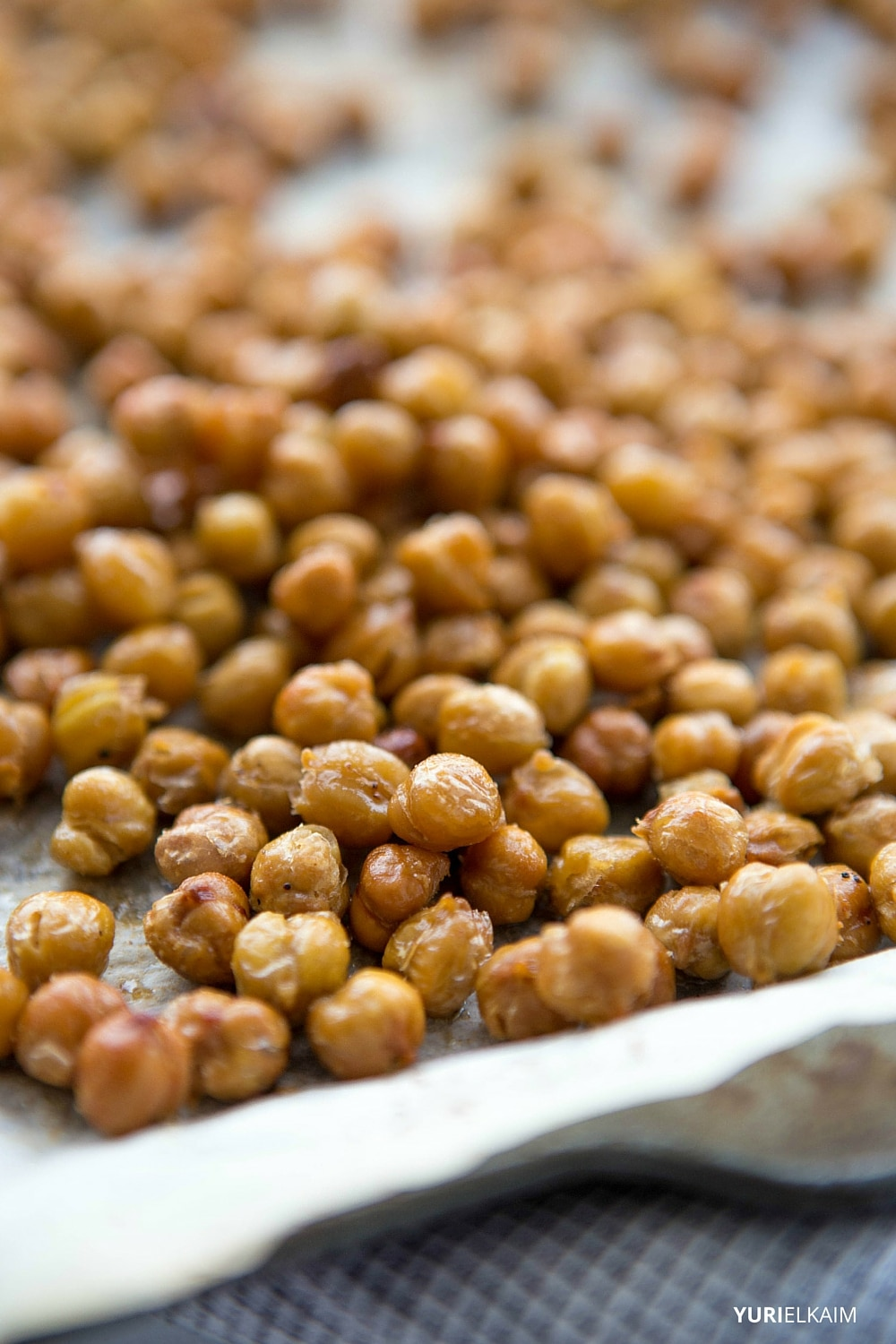 Spicy Garlic Oven-Roasted Chickpeas | Yuri Elkaim