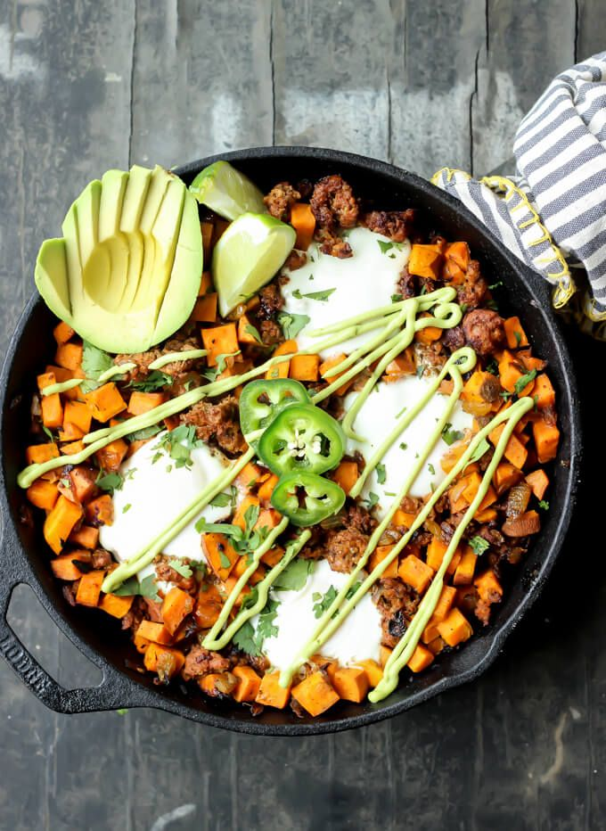Sweet Potato Chorizo Hash with Eggs - The Wicked Spatula