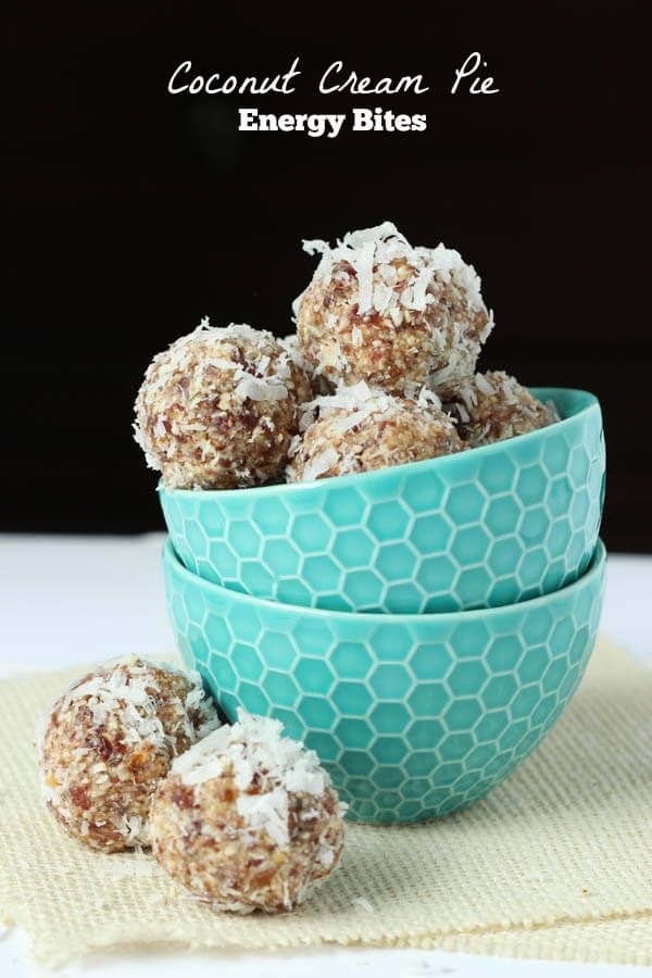 Coconut Cream Pie Energy Bites via Spoonful of Flavor
