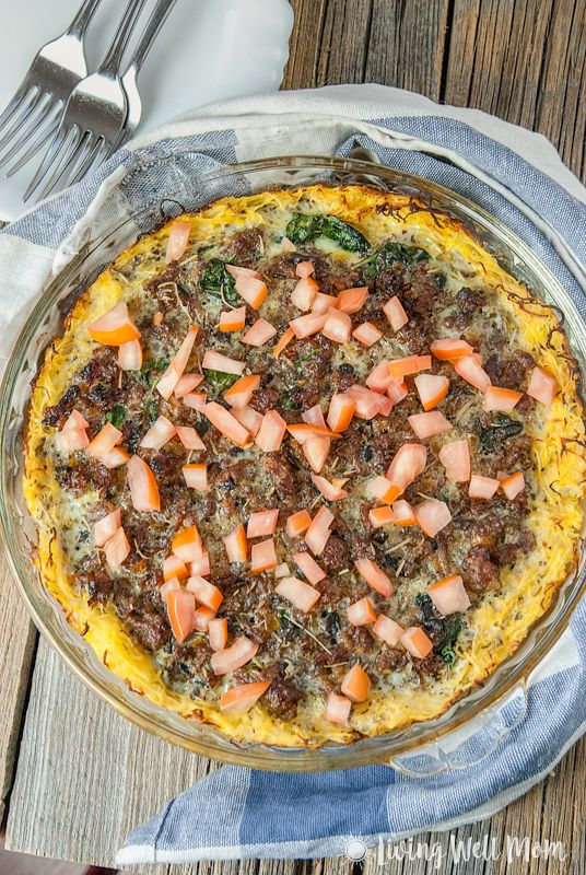 Spaghetti Squash Sausage Quiche via Living Well Mom