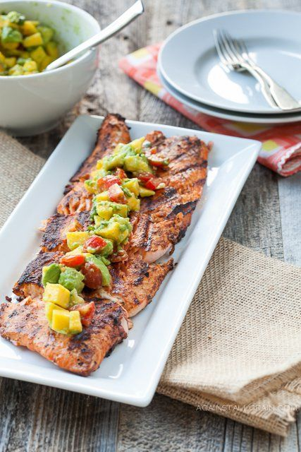 Blackened Salmon with Mango Avocado Salsa via Against All Grain