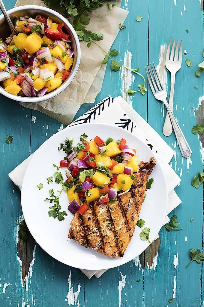 Grilled Salmon with Mango Salsa via Creme de la Crumb