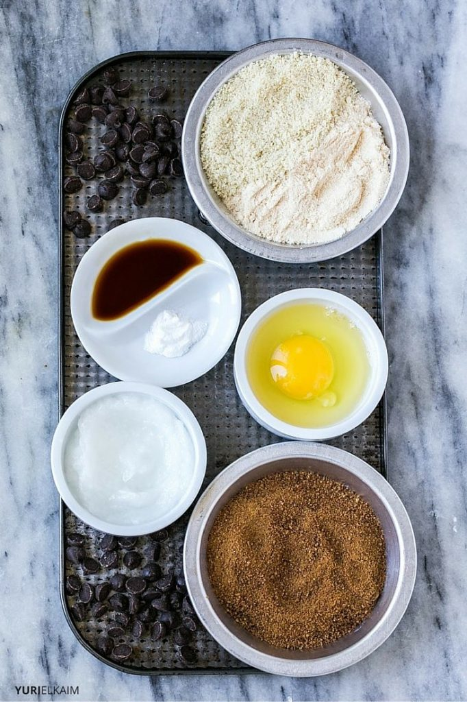 Paleo Chocolate Chip Ingredients Shown in Bowls