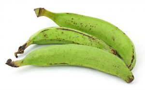 Three raw plantains