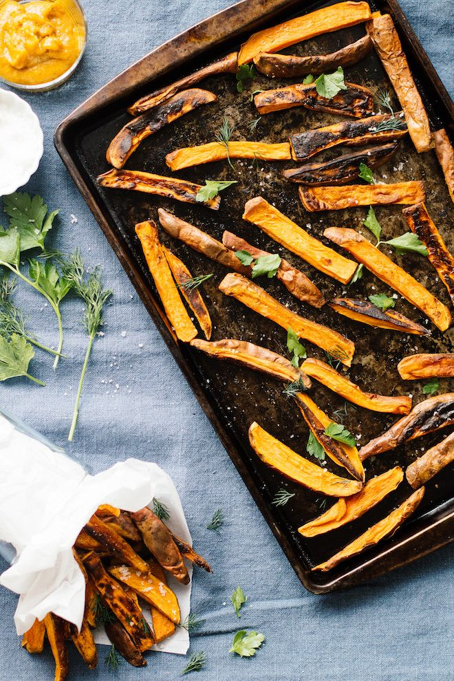 Sweet Potato Fries with Turmeric Tahini Dip via @NutritionStripped