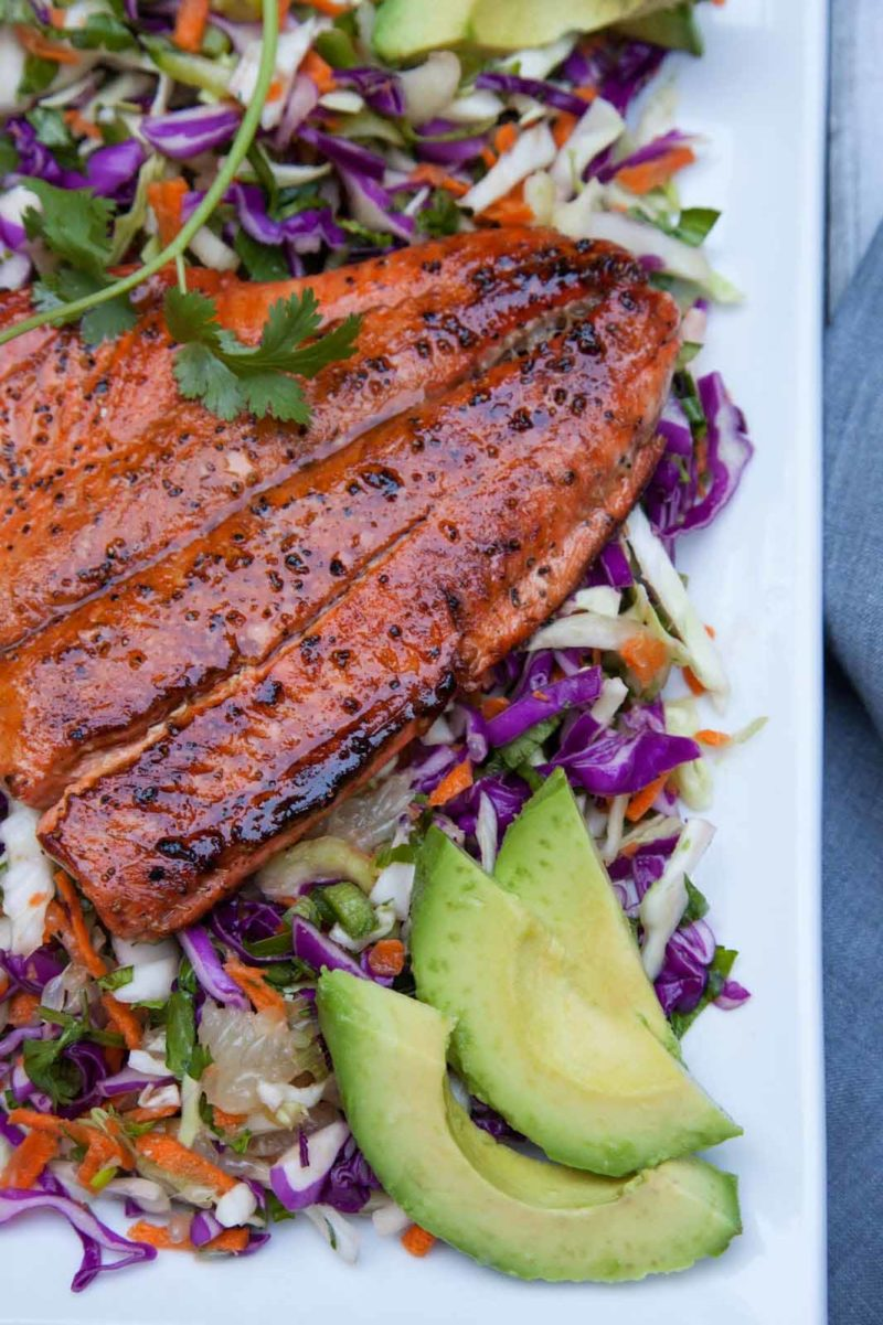 Sweet Tamari Sesame Ginger Glazed Wild Salmon via Savory Nest