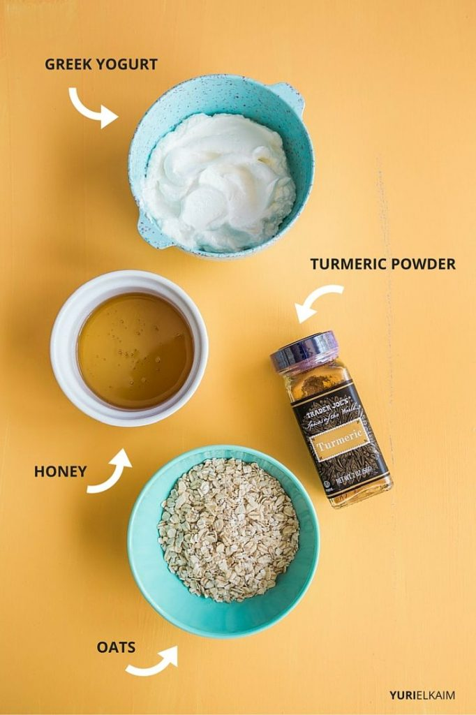 Overhead view of turmeric face mask ingredients