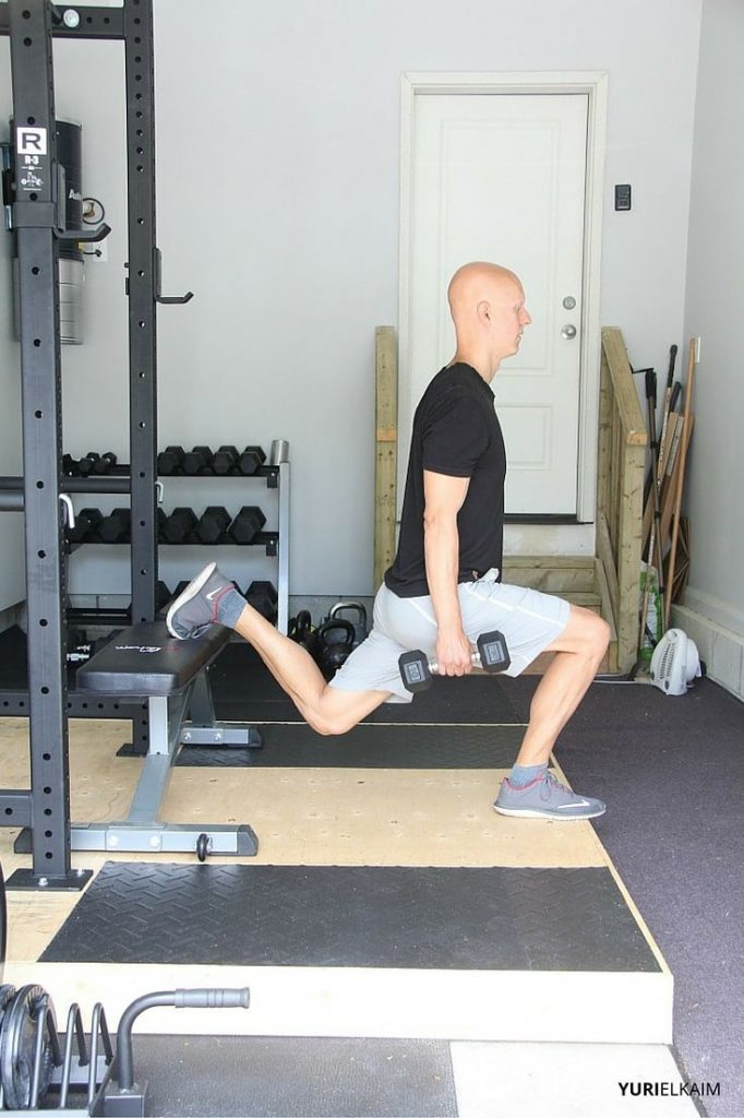 Bulgarian Split Squat - Side View Finishing Position
