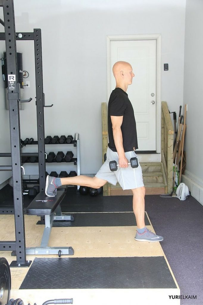 Bulgarian Split Squat - Side View Starting Position