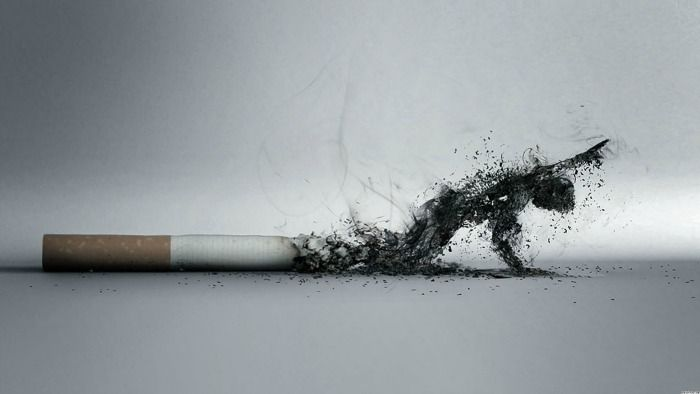 Cigarette with a long ash