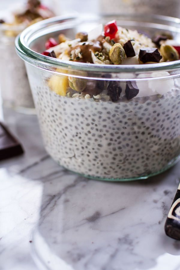 Coconut Almond Cream Chia Pudding via Half-Baked Harvest