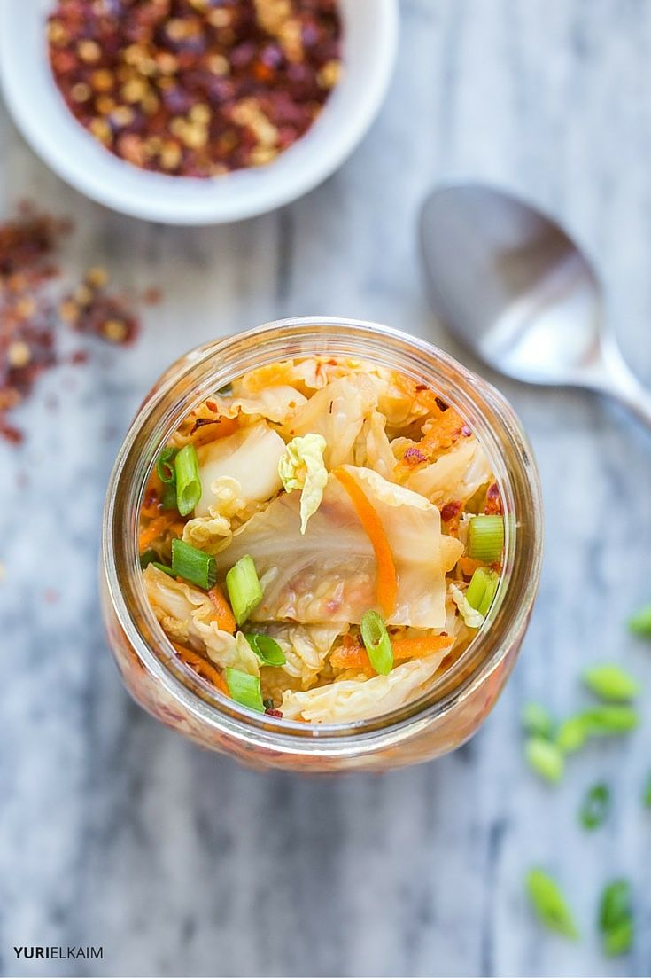 overhead view of kimchi in a jar
