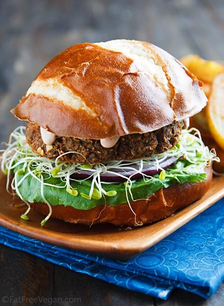 Savory Lentil Mushroom Burgers via Fat Free Vegan