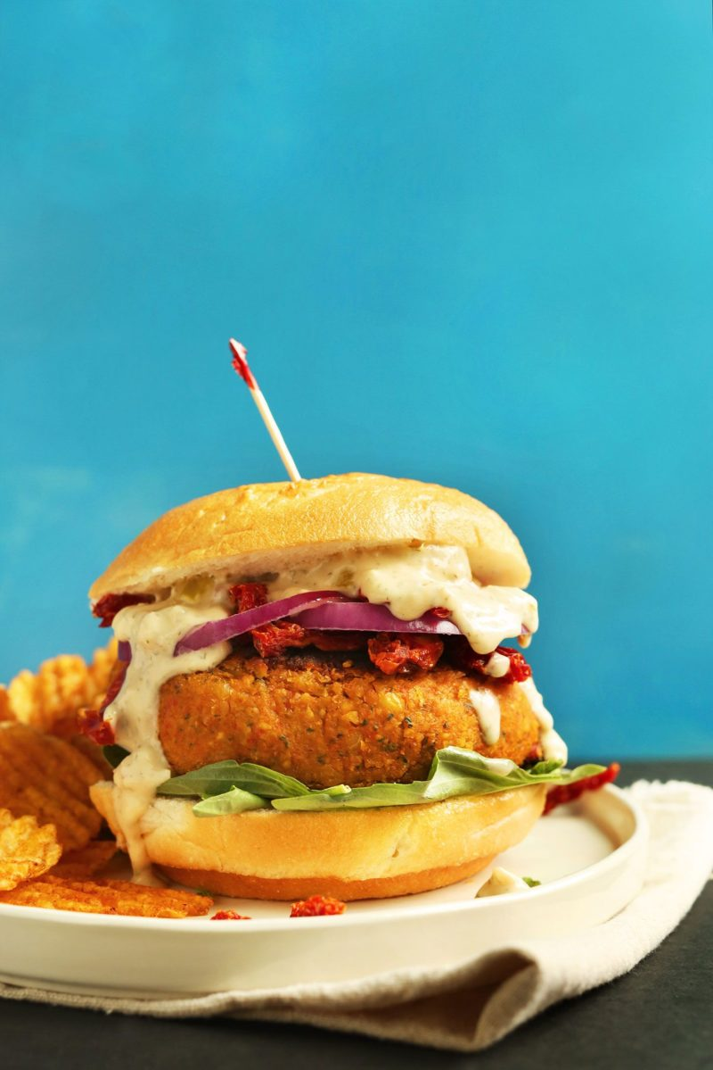 Sun-Dried Tomato Chickpea Burger via Minimalist Baker