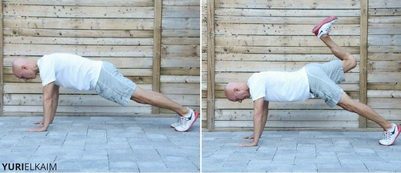Butt Kicks in Pushup Position