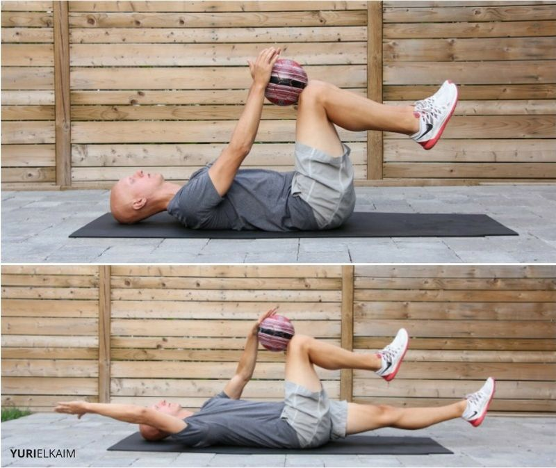 Medicine Ball Deadbug Exercise