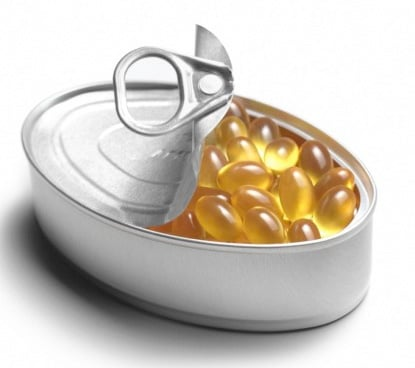can of fish oil capsules
