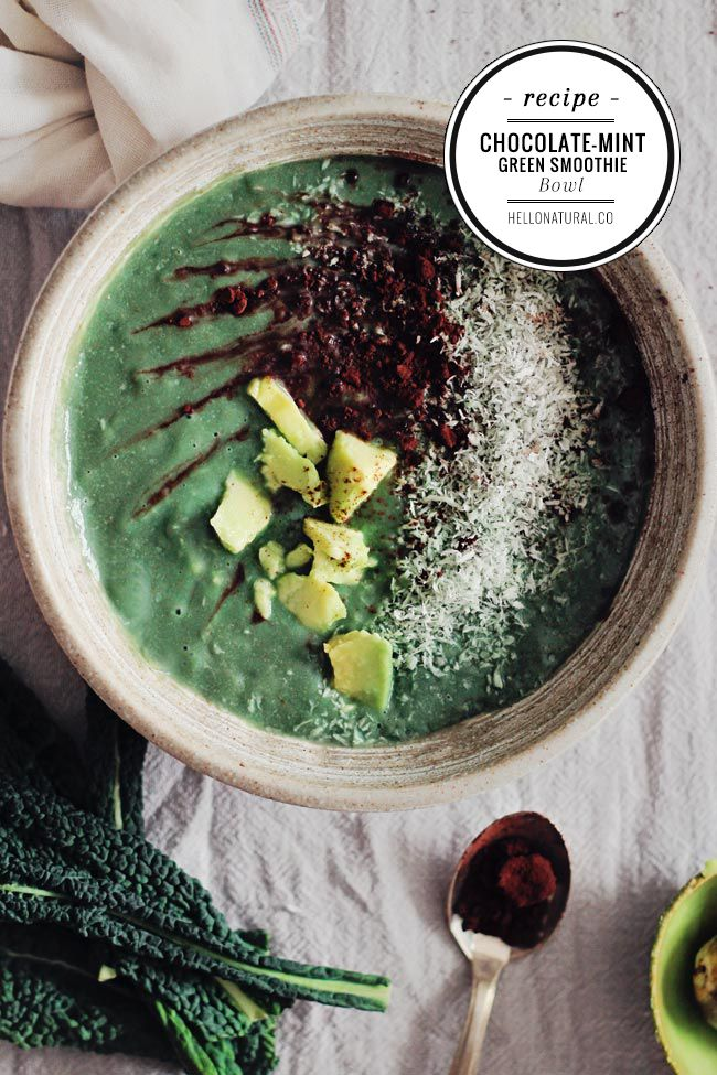 Chocolate Mint Green Smoothie Bowl