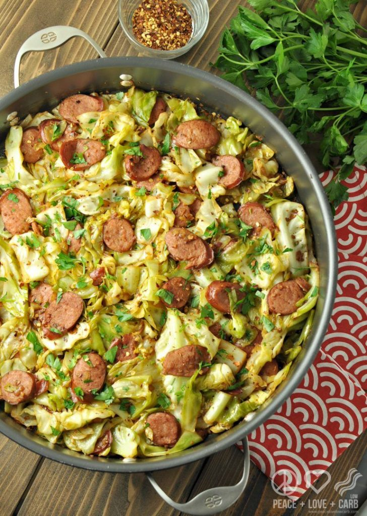 Fried Cabbage with Kielbasa via Peace Love and Low Carb