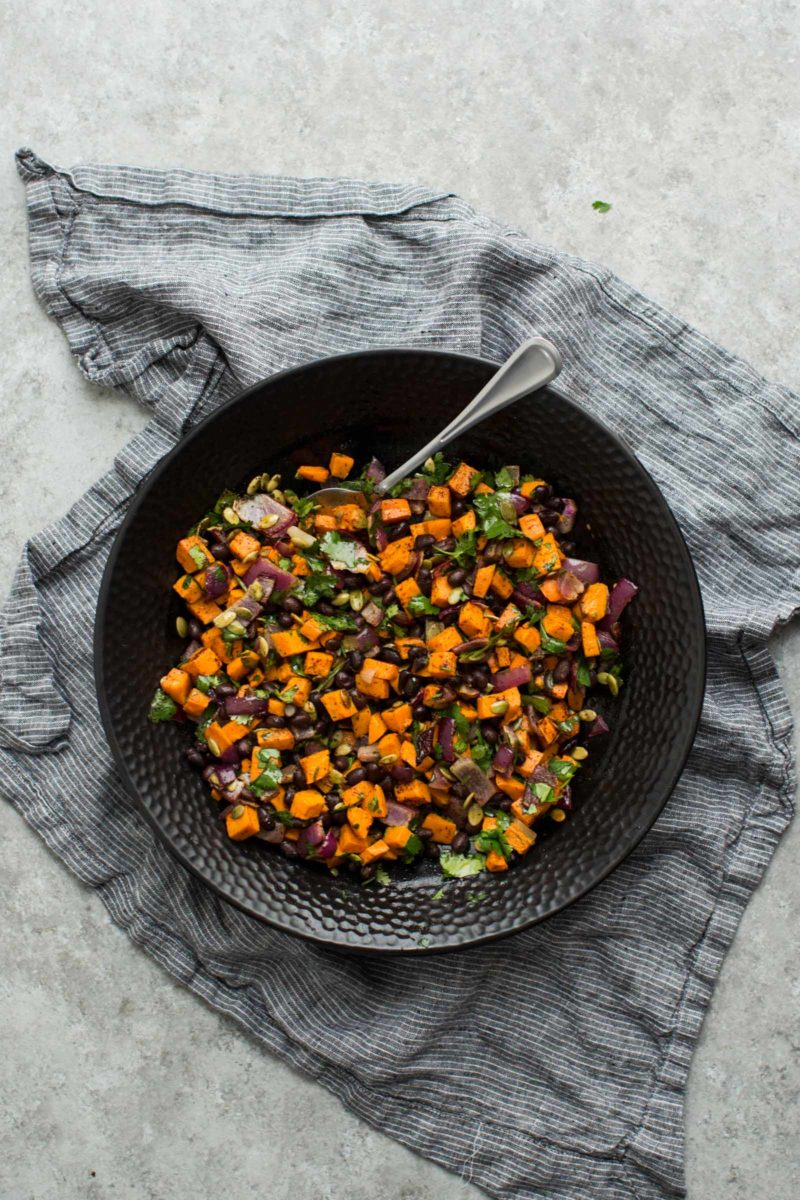 Black Bean Salad with Roasted Sweet Potatoes via Naturally Ella