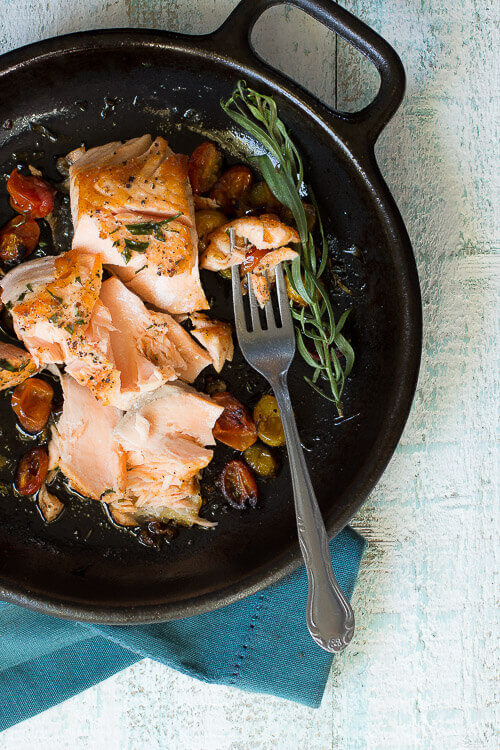 Cast Iron Skillet-Seared Salmon via Foodness Gracious