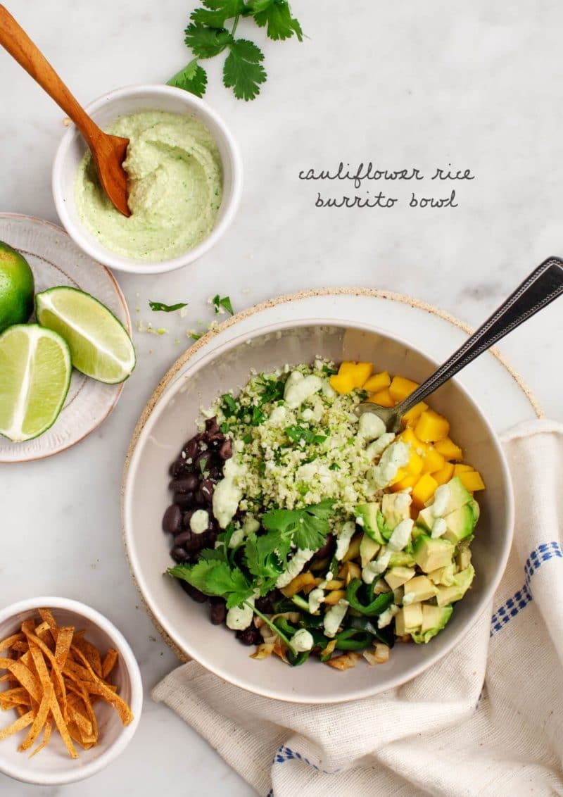 Cauliflower Rice Burrito Bowl via Love and Lemons