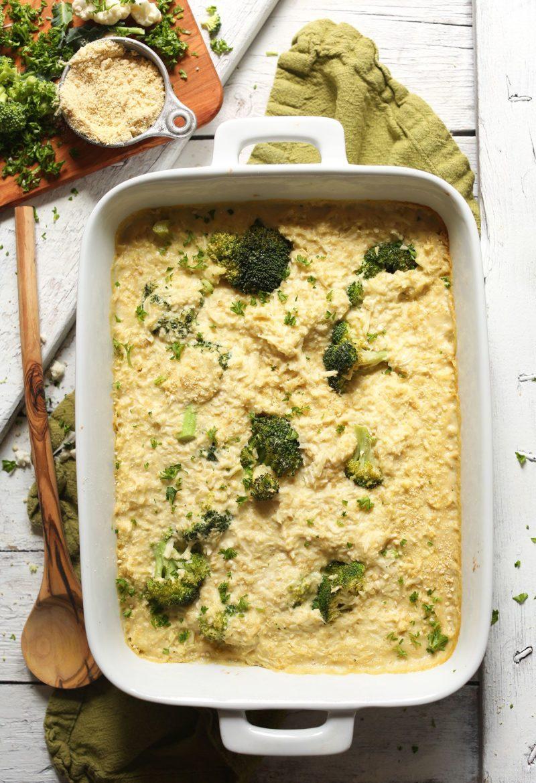 Cheesy Cauliflower Broccoli Bake via Minimalist Baker