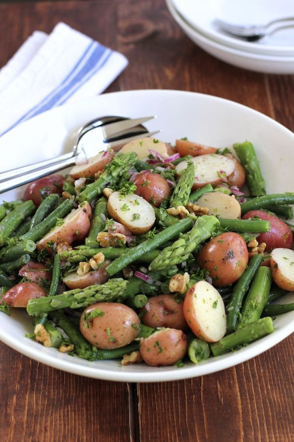 Potato Salad with Green Beans and Asparagus via Green Valley Kitchen