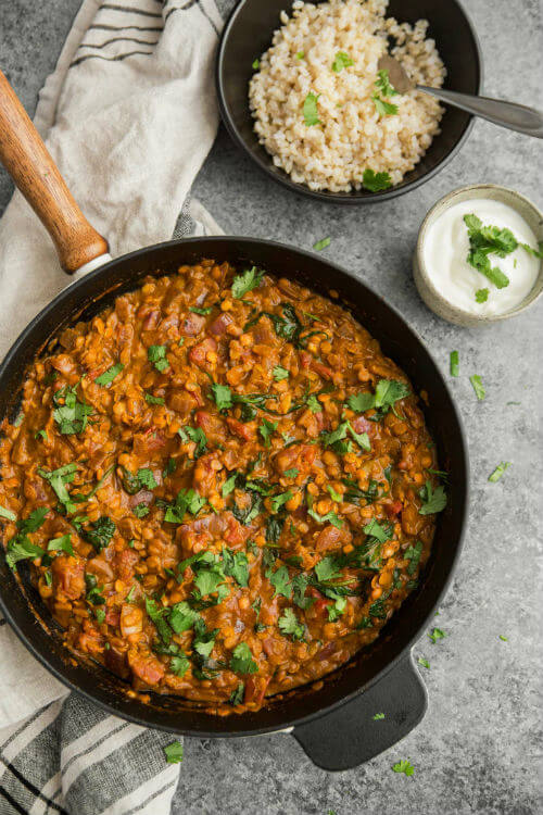 Red Lentils and Spinach in Masala Sauce via Naturally Ella