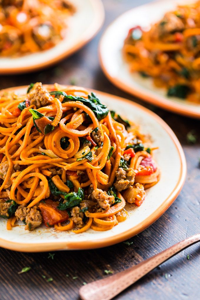 Sweet Potato Noodles with Chorizo Roasted Red Pepper and Spinach via Get-Inspired-Everyday
