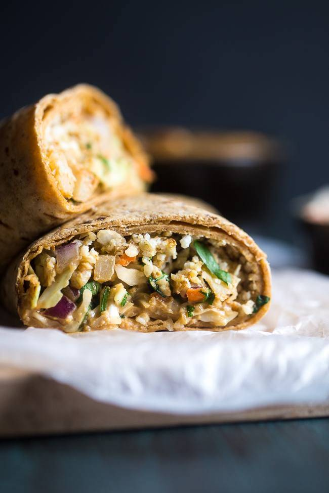 Thai Salad and Cauliflower Rice Wrap via Food Faith Fitness