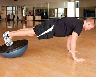BOSU Ball Ab Exercises - BOSU Elevated Feet Plank