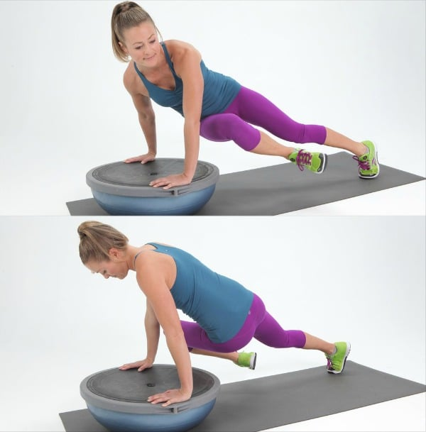 Bosu Ball Ab Exercises Twisting Plank