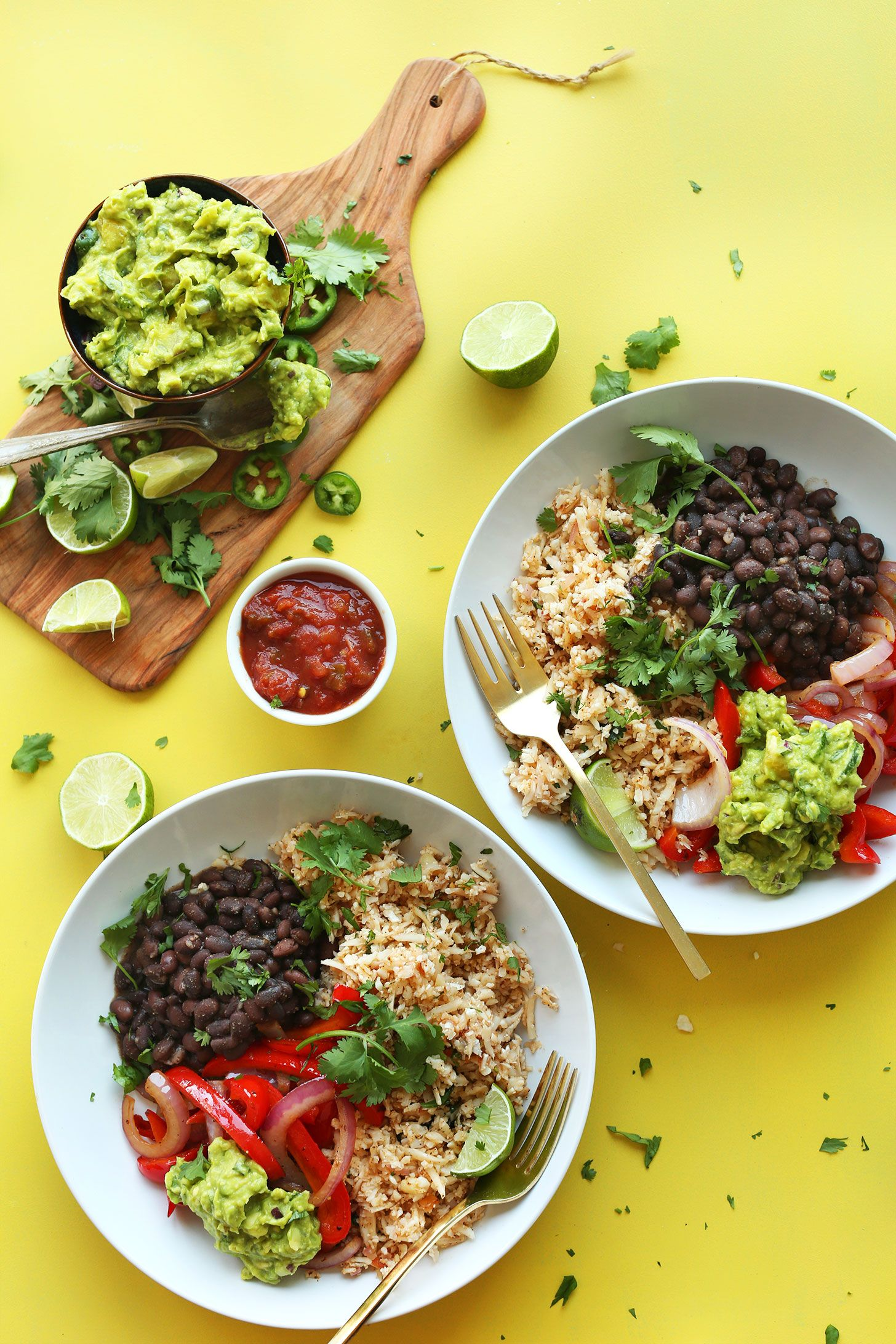 Cauliflower Rice Burrito Bowl via Minimalist Baker