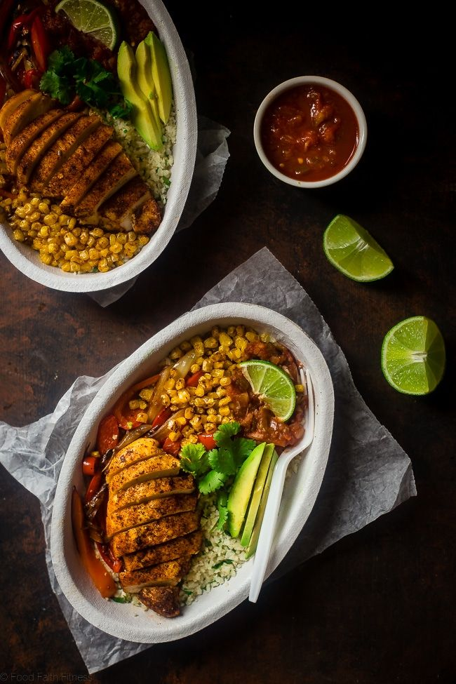 Chipotle Burrito Bowl with Chicken via Food Faith Fitness