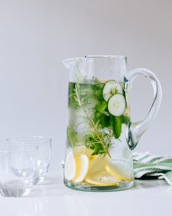 Cucumber Herb Infused Water via A Couple Cooks