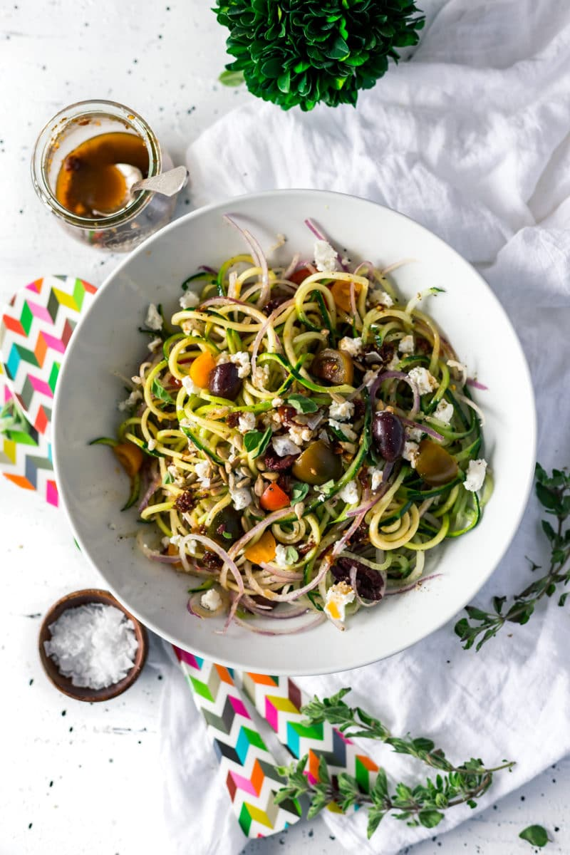 Mediterranean Spiralized Zucchini Salad (Sun-Dried Tomato Dressing)