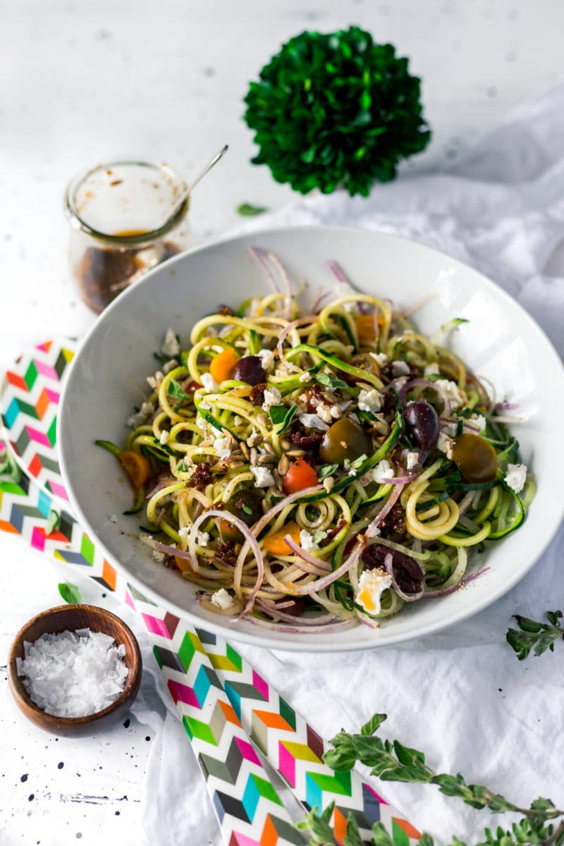 Mediterranean Spiralized Zucchini Salad with Sun-Dried Tomato Dressing Recipe