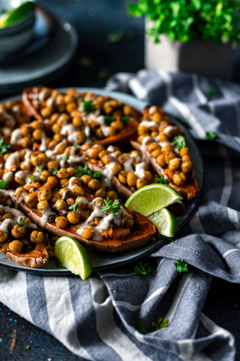 Moroccan Chickpea Stuffed Double Baked Sweet Potatoes Recipe