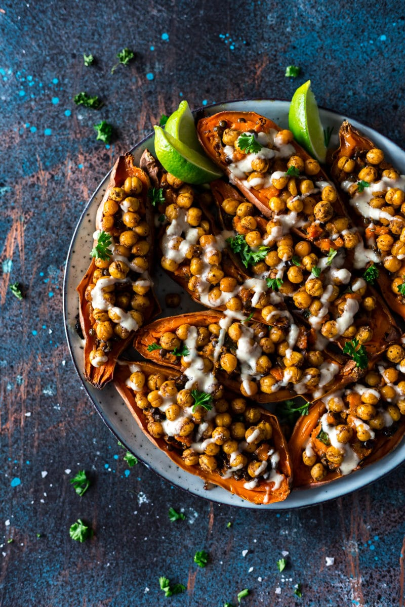 Moroccan Chickpea Stuffed Double Baked Sweet Potatoes with Tahini Dressing