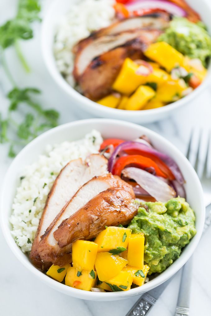 Paleo Burrito Bowls with Mango Salsa via Get Inspired Everyday