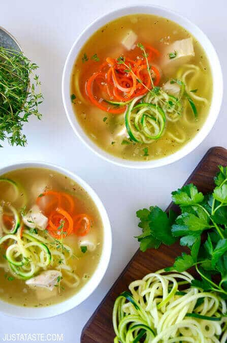 Zucchini Noodle Chicken Soup via Just a Taste