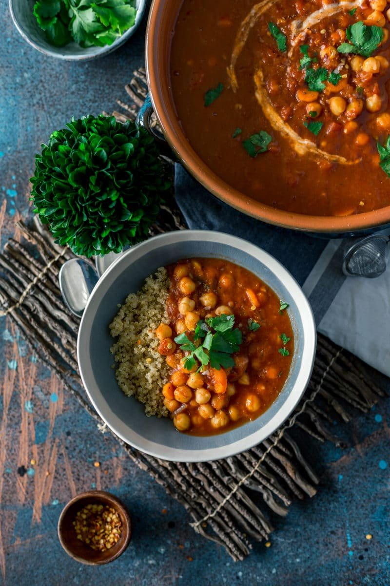 Authentic Moroccan Chickpea Stew overhead angle